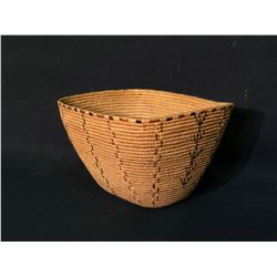 """THOMPSON RIVER HAND WOVEN BURDEN BASKET WITH RED AND BLACK CHECKER PATTERN, APPROX. 7.5"""" X"""