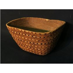 HAND WOVEN BURDEN BASKET FROM LYTTON, BC, WITH BANDING RED AND BLACK