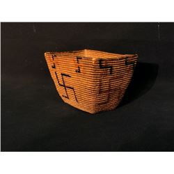 SMALL HAND WOVEN BURDEN BASKET FROM LYTTON, BC, WITH BLACK/RED ROLLING LOG PATTERNS