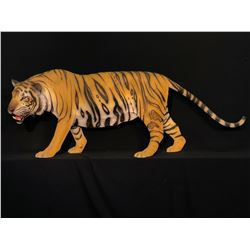 "HAND PAINTED LIFE SIZE FIBREGLASS TIGER SCULPTURE, APPROX. 7' 2"" LONG"