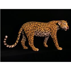 "HAND PAINTED LIFE SIZE FIBREGLASS LEOPARD STATUE, 56"" LONG"