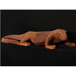 "HAND CARVED, SOLID WOOD, LIFE SIZE KOMODO DRAGON SCULPTURE, 5' 8"" LONG"