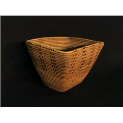 "THOMPSON RIVER HAND WOVEN BURDEN BASKET WITH RED AND BLACK CHECKER PATTERN, APPROX. 7.5"" X"