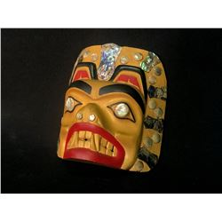 "JOSEPH ""JOE"" CALDER, NISGA'A/TSIMSHIAN HAND CARVED AND PAINTED BEAR MASK, WITH NUMEROUS ABALONE AND"