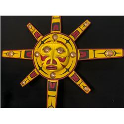 HAND CARVED AND PAINTED 8 RAY SUN MASK WITH COPPER INLAY, BC NATIVE, TOP RAY HAS HANDWRITTEN