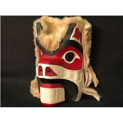 LILLY PURCELL, HAND CARVED AND PAINTED BEAR MASK WITH RABBIT FUR ACCENTS, SIGNED ON BACK BY ARTIST,