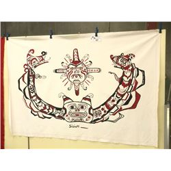 "KWAKWAKA'WAKW NATION HAND PAINTED POTLATCH DANCE SCREEN  80"" X 54"" H"