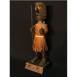 HOWARD AMBROSE, NOOTKA/NUU-CHAH-NULTH HAND CARVED AND PAINTED WARRIOR STATUE WITH CEDAR BARK