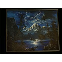 ORIGINAL SKODA KILLER WHALE OCEAN AND MOUNTAIN LANDSCAPE PAINTING, SIGNED BY ARTIST ON LOWER RIGHT,