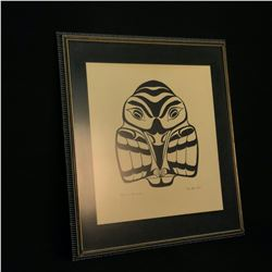 CHIEF HENRY SPECK ORIGINAL HAND PAINTED NATIVE RAVEN PORTRAIT, C. 1964, SIGNED BY