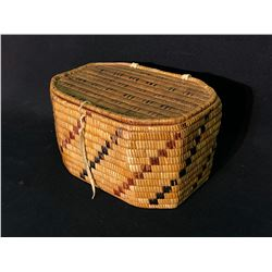 FRASER VALLEY FIRST NATION, FULLY IMBRICATED LIDDED WOVEN BOWL WITH RED AND BLACK DIAGONAL PATTERN,