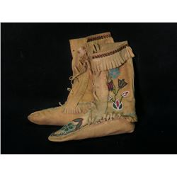 PLAINS FIRST NATIONS HAND CRAFTED HIGH TOP BEADED MOCASSINS