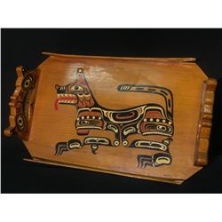 NASS RIVER FIRST NATION HAND CRAFTED AND PAINTED CEDAR CANOE TRAY FEATURING WOLF AND OTHER