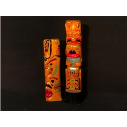 "2 NORTHWEST FIRST NATIONS HAND CRAFTED AND PAINTED TOTEM POLES, 13.5"" AND 17.5"" TALL"