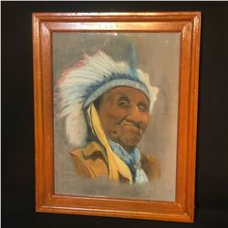 """ORIGINAL PASTEL ON PAPER, """"PORTRAIT OF AN INDIAN CHIEF"""", SIGNED ON LOWER RIGHT BY A. JAMES, 1952,"""