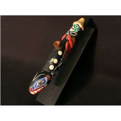 HAND CARVED AND PAINTED FIRST NATIONS PIPE WITH COPPER FITTING AND STAND, KILLER WHALE AND MAN