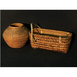 """2 MT. CURRIE NATIVE WOVEN BASKETS: OPEN RECTANGLE WOVEN BASKETS WITH LEATHER STRAPS, 10.5"""" LONG,"""
