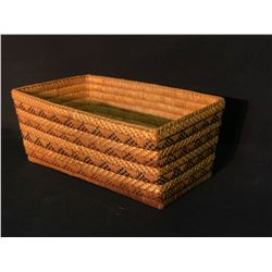 """MT. CURRIE NATIVE RECTANGLE BASKET WITH OPEN BEADED IMBRICATION, 14.5"""" LONG X 8.5"""" TALL X 6"""" TALL"""
