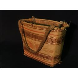 """NUU-CHAH-NULTH NATIVE HAND WOVEN BIRD PATTERN SHOPPING BASKET WITH LEATHER STRAPS, 9"""" TALL NOT"""