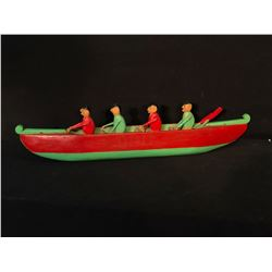 """NORTHWEST COAST NATIVE HAND CARVED AND PAINTED MODEL CANOE WITH 4 FIGURES, 29"""" LONG"""