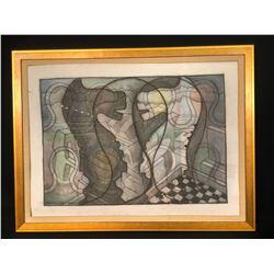 "MARTIN GUDERNA FRAMED ORIGINAL UNTITLED ABSTRACT ART PIECE, DATED 2008, SIGNED BY ARTIST, 34"" X 26"""