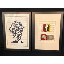 "2 MARTIN GUDERNA ORIGINAL ABSTRACT ART PIECES, DATED 2014 & 2015, SIGNED BY ARTIST, EACH 25"" X 21"""