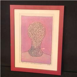 """MARTIN GUDERNA ORIGINAL ABSTRACT HUMAN FIGURE ART PIECE, DATED 2008, SIGNED BY ARTIST, 13"""" X 10"""""""