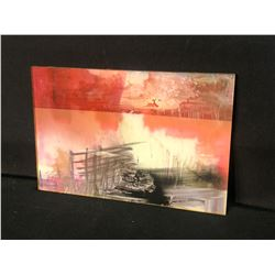 """ORIGINAL ABSTRACT PAINTED GLASS ART PIECE, ARTIST UNKNOWN, 12"""" X 8"""""""
