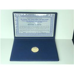 """""""THE FIRST JOINT SPACE FLIGHT, UNITED STATES/RUSSIA, 1975"""" COMMEMORATIVE LIMITED EDITION 14K COIN,"""