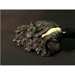 """INUVIK, NORTH WEST TERRITORIES NATIVE SOAP STONE MUSK OX CARVING, BY """"IYAK"""", 1997, SIGNED BY ARTIST"""