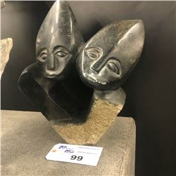 """AFRICAN SHONA SOAP STONE STATUE, TWO PEOPLE, 19"""" TALL"""