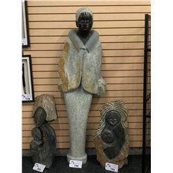 "LARGE AFRICAN SHONA SOAP STONE STATUE, STANDING WOMAN, SIGNED BY ARTIST NEAR BOTTOM, 65.5"" TALL"