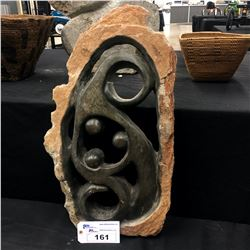 """AFRICAN SHONA SOAP STONE STATUE, ABSTRACT FAMILY OF THREE, SIGNED BY ARTIST, """"TINASHE"""", 30"""" TALL"""