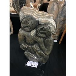 """AFRICAN SHONA SOAP STONE STATUE, HUGGING, SIGNED BY ARTIST, """"DEAN C."""", 26"""" TALL"""
