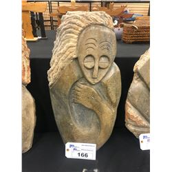 """AFRICAN SHONA SOAP STONE STATUE, PERSON THINKING, 23.5"""" TALL"""
