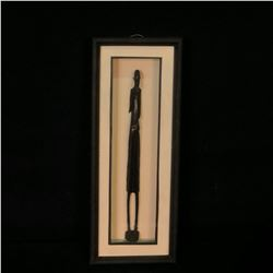 "ZIMBABWEAN HAND CARVED TRADITIONAL WOOD STATUE IN FRAME, STATUE APPROX. 15"" TALL, NOT INCLUDING"