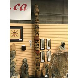 11.5' 3 FIGURE TOTEM POLE FROM SIX NATIONS, NEAR NIAGARA PENINSULA; AS SAID BY THE CARVER'S FAMILY,