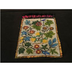 "BEADED FLORAL DESIGN BANDOLIER BAG, APPROX. 20"" DEEP"