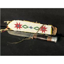 """""""PIONEER"""" BY WADE & BUTCHER HUNTING KNIFE WITH NATIVE BEADED LEATHER SHEATH, 10.5"""" FROM BUTT OF"""