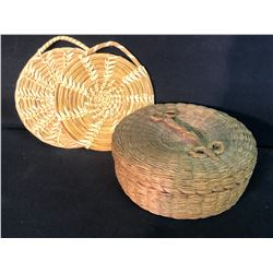 "PRAIRIE NATIVE SWEET GRASS HAND WOVEN LIDDED BASKET WITH 2 COASTERS, APPROX. 7.5"" WIDE"