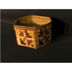 "LYTTON AREA NATIVE FULLY IMBRICATED HAND WOVEN HEXAGON SHAPED BASKET, APPROX. 7"" WIDE"