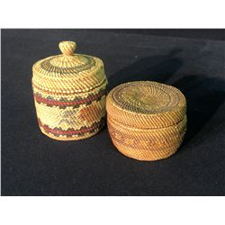 "2 NUU-CHAH-NULTH LIDDED GRASS BASKETS, EACH APPROX. 3"" WIDE"