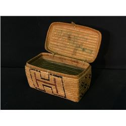 """THOMPSON RIVER NATIVE, FULL IMBRICATED LIDDED HANDLE BASKET, APPROX. 9"""" LONG"""