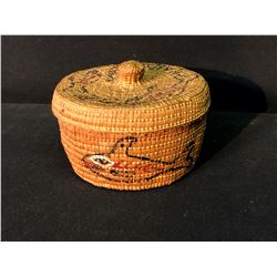 """HAIDA NATIVE SPRUCE ROOT PAINTED LIDDED BASKET, 6"""" WIDE"""