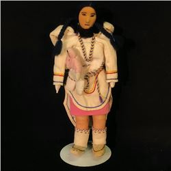 "HAND MADE INUIT DOLL WITH CHILD ON STAND, 13"" TALL INC. STAND"