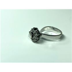 14K LADIES CLUSTER RING, WITH SCD & DIAMOND
