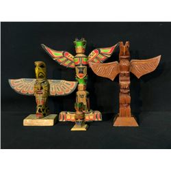 COLLECTION OF 4 ARTIST SIGNED NATIVE TOTEM POLES, BY SYLVIA ANDERSON, BARBARA FOLEY, PHILIP NELSON,