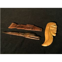 3 SMALL HAND CARVED NATIVE PADDLES, BY B. JOSEPH, CHRIS PAUL, AND UNKNOWN, FEATURING MAN, BIRD AND