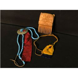 3 PIECES: NORTHWEST POTLATCH WOOD HANDCARVED CONE WITH OWL DESIGN, SMALL LEATHER BEADED POUCH, AND