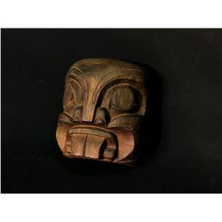 """HUNT FAMILY, HAND CARVED DARK WOOD BEAVER MASK, OF KWAGIULTH FIRST NATION, 8"""" TALL, SIGNED ON BACK"""
